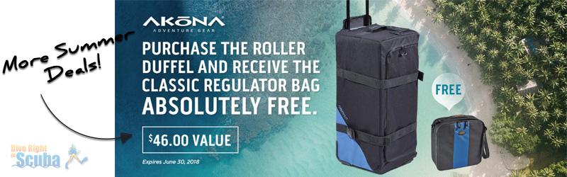 Free regulator bag with purchase of Akona Roller Duffel