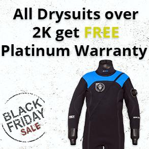 All Drysuits over 2K get free Platinum Warranty