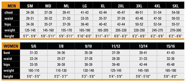 Female Size Chart for Ladies Sun Shirt  -