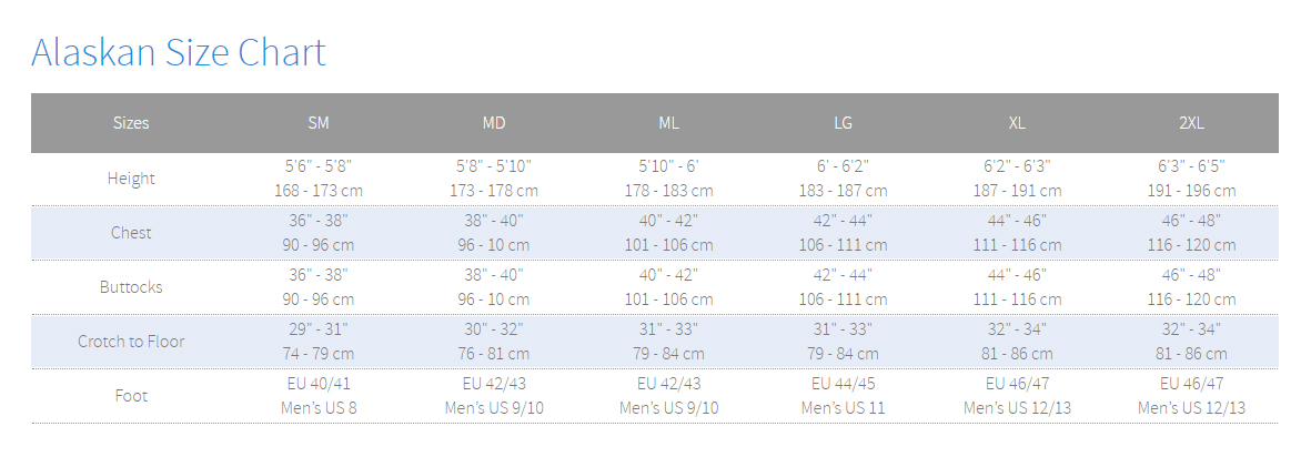 Size Chart for Alaskan Drysuit with Boots