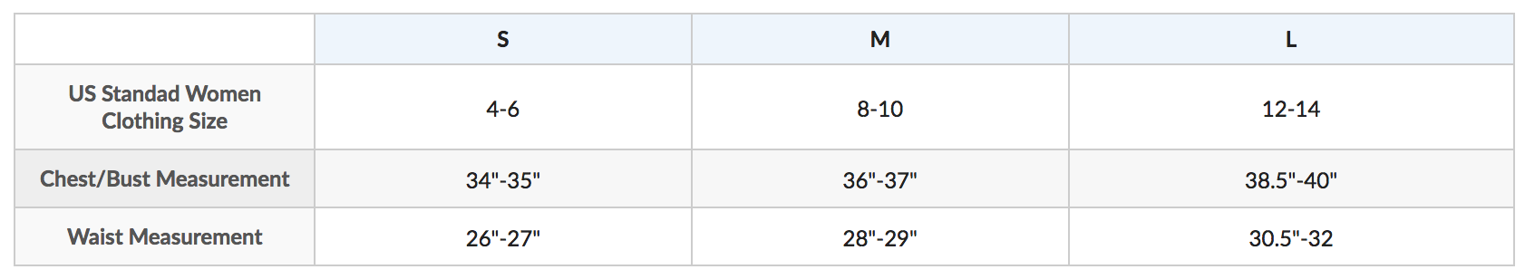 Female Size Chart for Women's Long Sleeve Galaxy Zippered Rashguard -