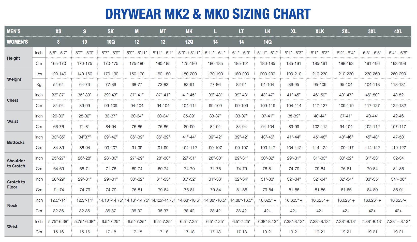 Female Size Chart for Whites Glacier MK2 Base John or Jacket Undergarments -