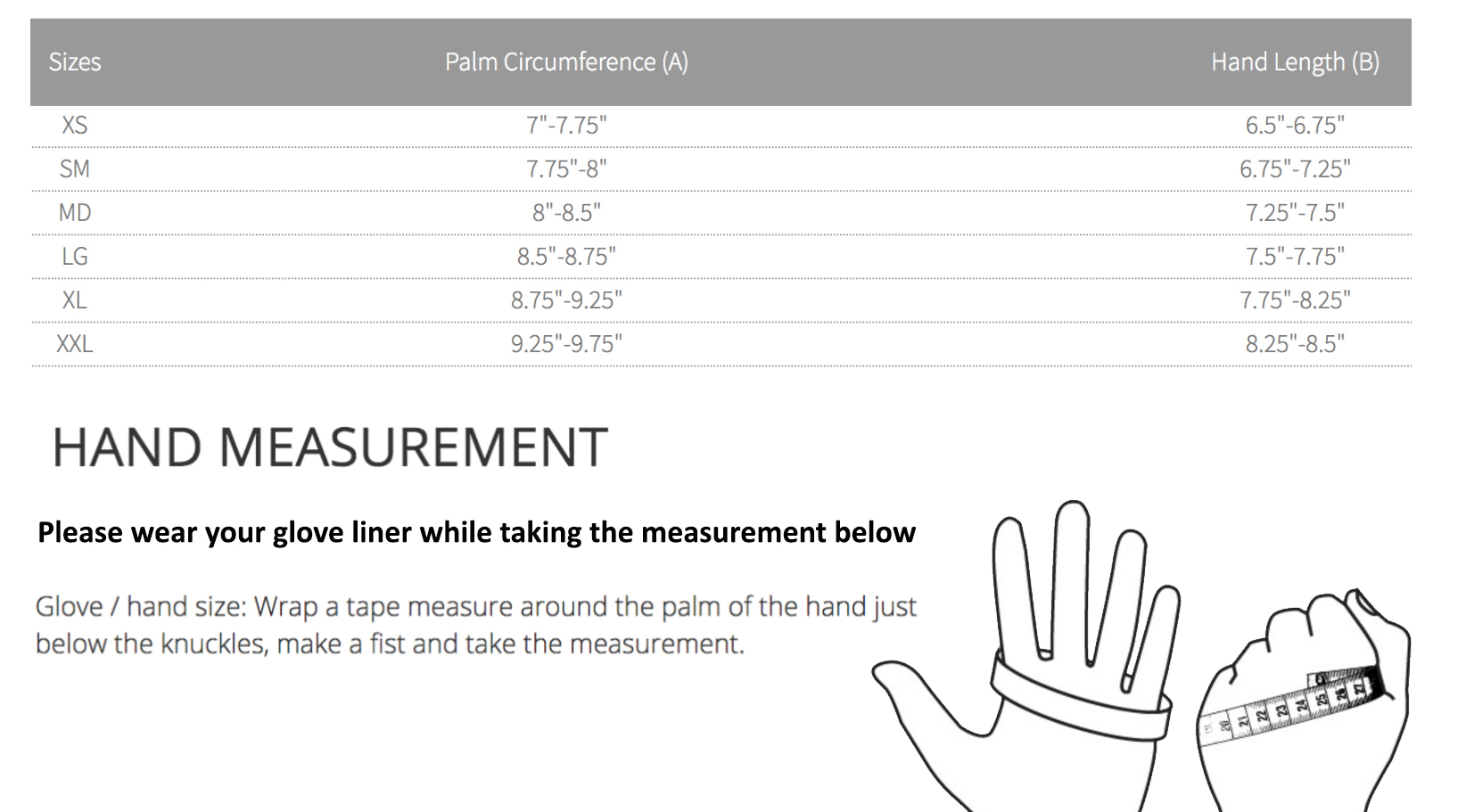 Female Size Chart for 620 PVC Dryglove -
