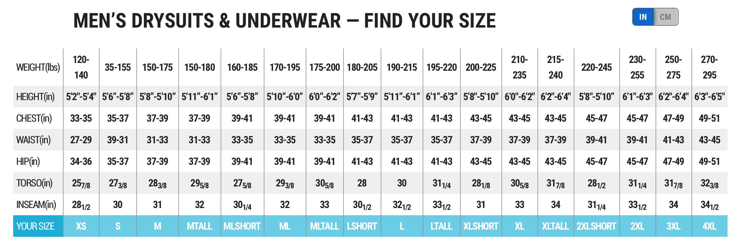 Female Size Chart for CT 200 Polarwear Undergarment -