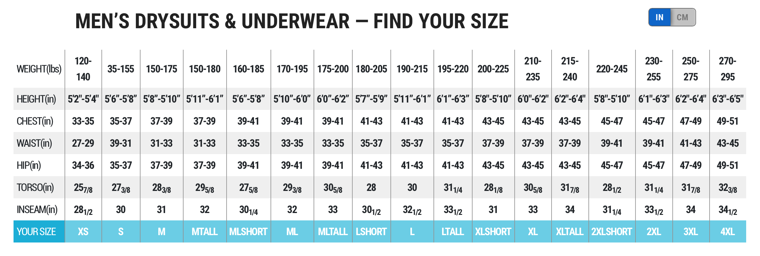 Female Size Chart for Super HI-Loft Polarwear Extreme -