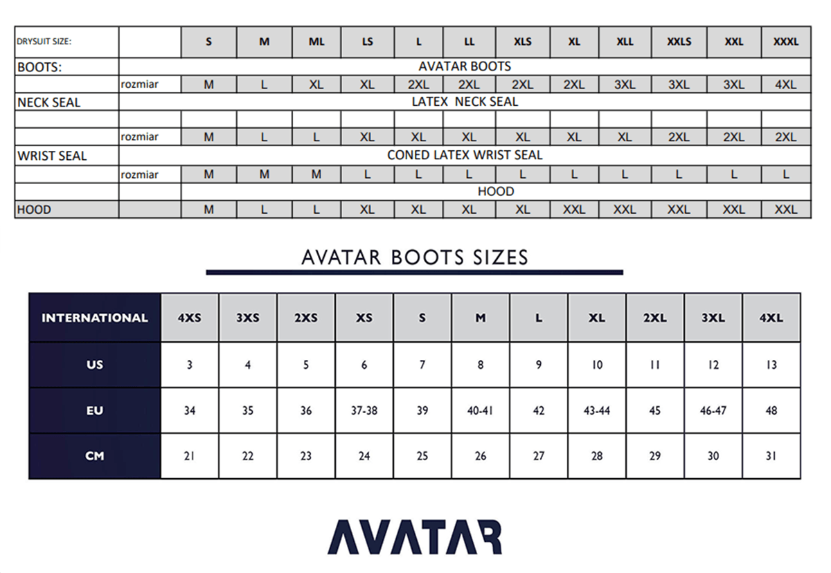 Female Size Chart for Avatar 101 Breathable Drysuit -