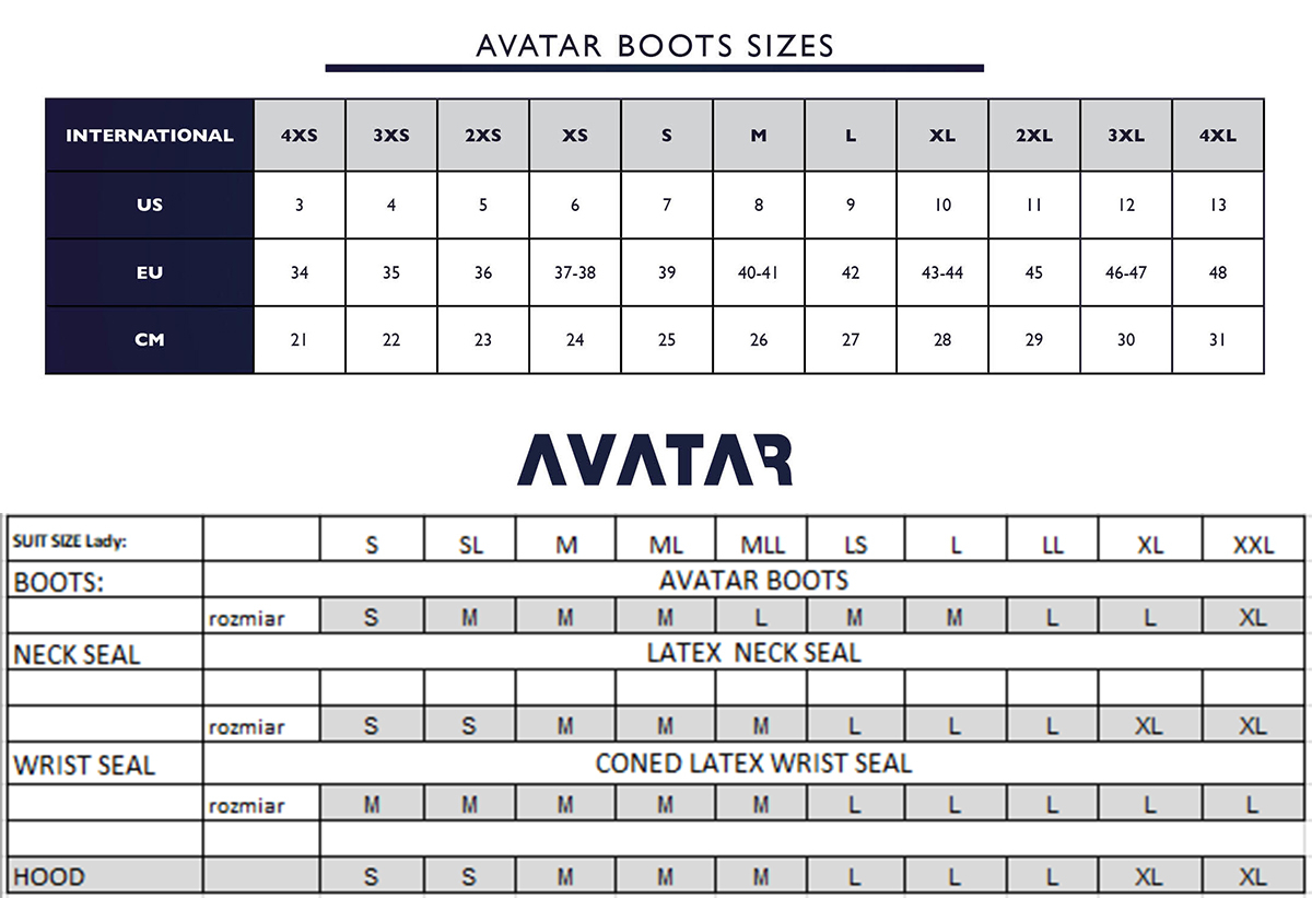 Female Size Chart for Avatar 101 Ladie's Breathable Drysuit -
