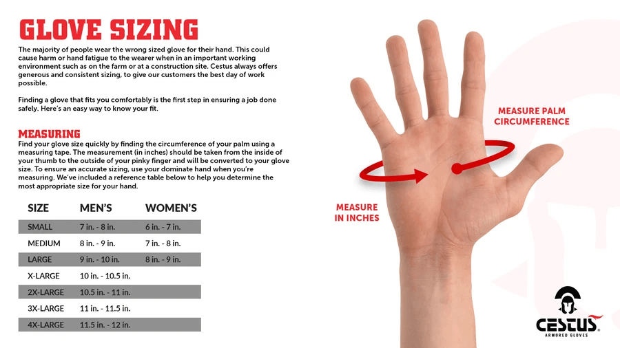 Female Size Chart for H2O Attack SX Swiftwater Gloves -