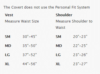 Size Chart for Covert XT BCD