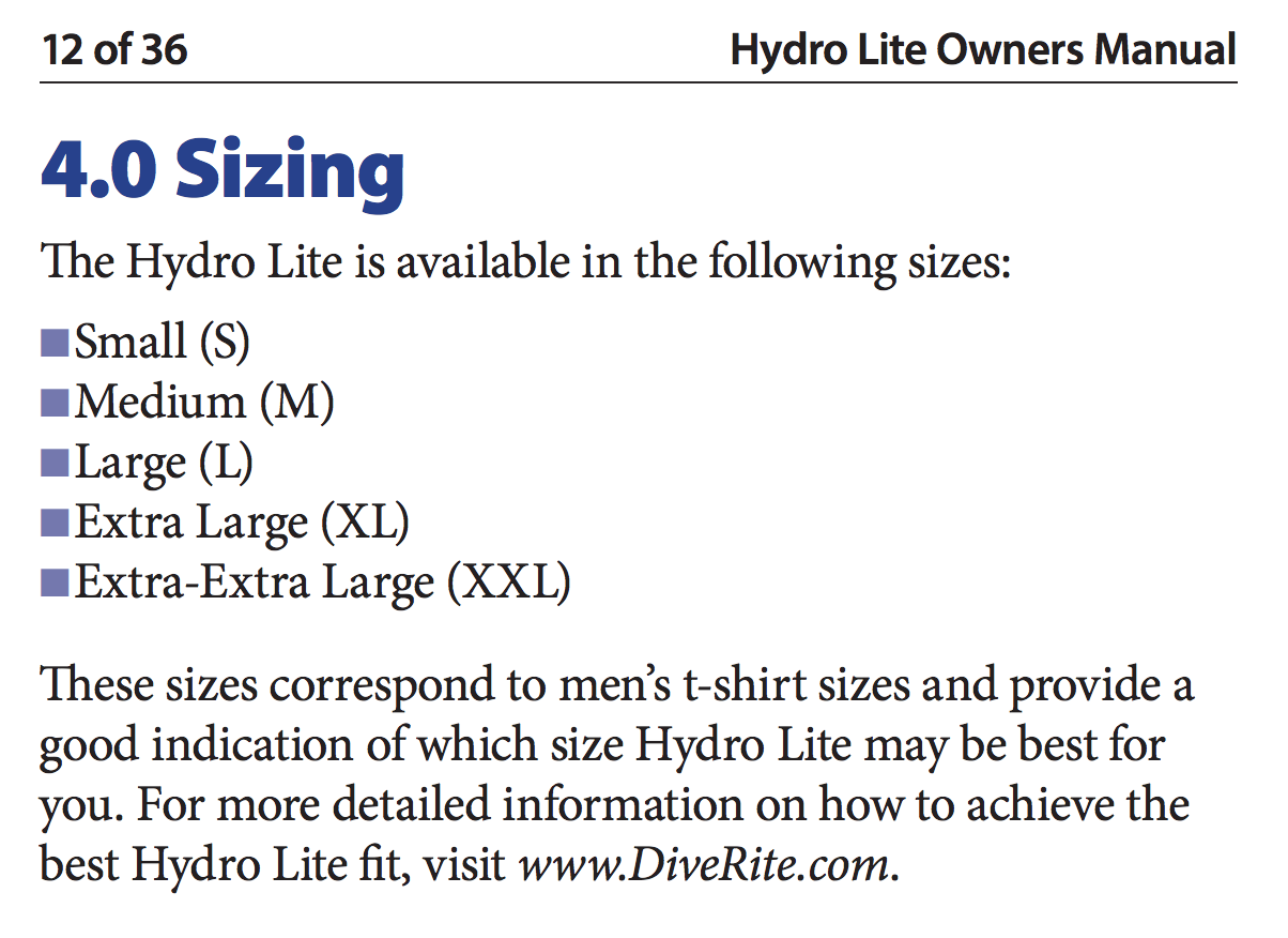 Female Size Chart for Hydro Lite Travel BCD -