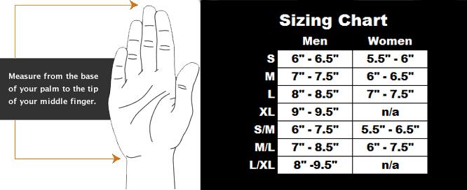 Female Size Chart for Fleece Dry Glove Liner -