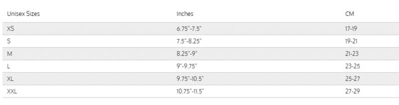 Female Size Chart for G1 Drysuit Glove Liner -
