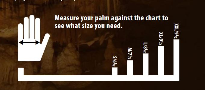 Female Size Chart for Red Textured Heavyweight Gloves -