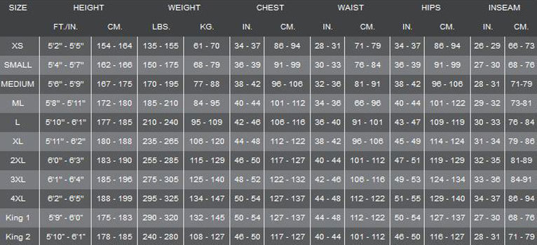 Click to view - Male Size Chart for Full Jump Suit