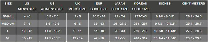 Click to view - Male Size Chart for Lavacore Socks