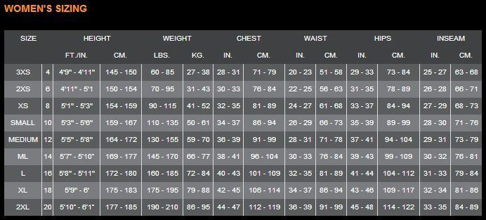 Click to view - Female Size Chart for Full Jump Suit -