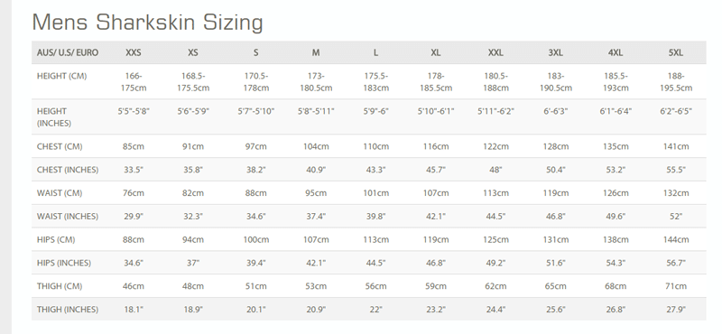 Female Size Chart for Chillproof Long Sleeve Top -