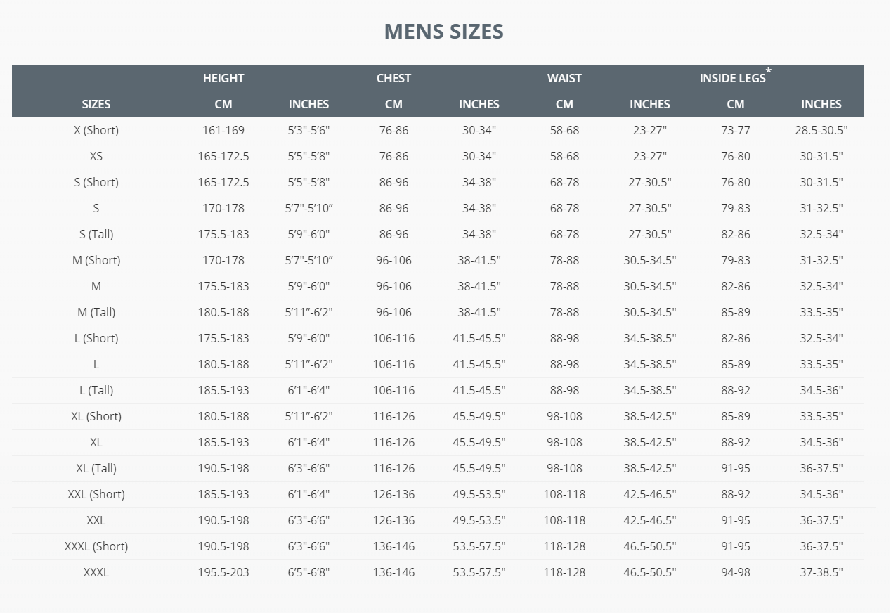 Female Size Chart for Technical Shorts  -