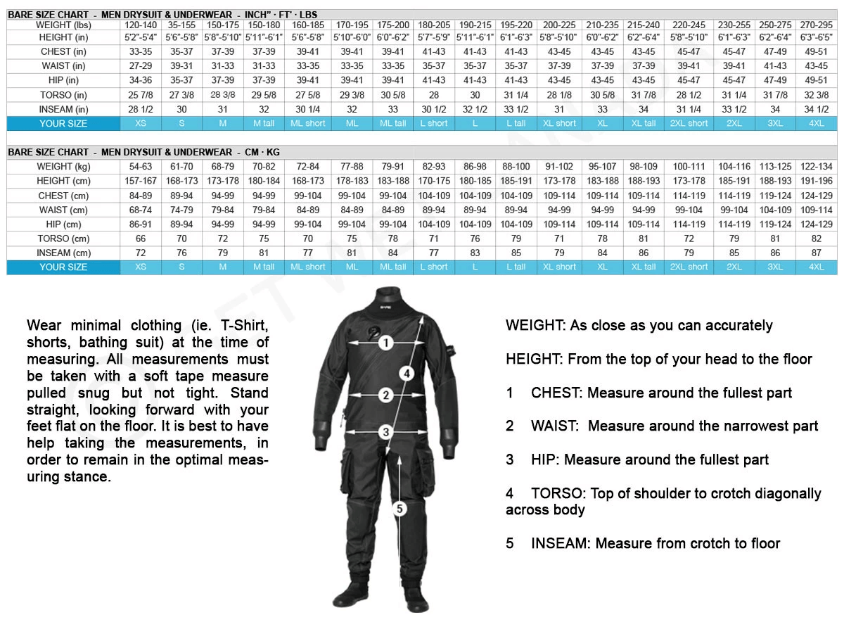 Female Size Chart for Sentry Pro Dry Drysuit  -