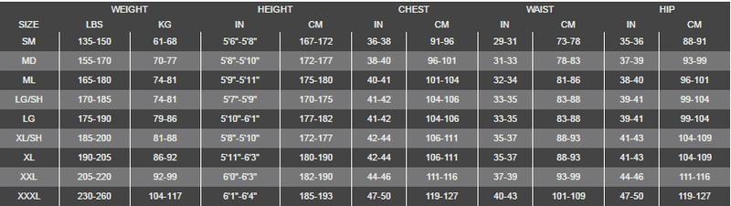 Female Size Chart for NeoTek Semi Dry -