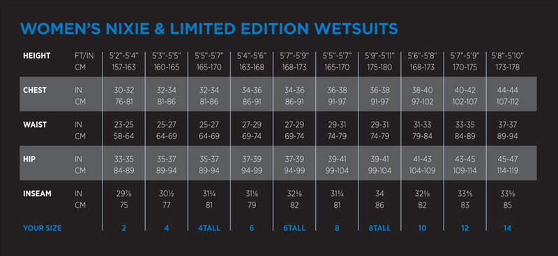 Female Size Chart for Nixie Women's Wetsuit -