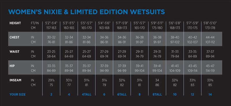 Female Size Chart for Evoke 7mm Women's Wetsuit -
