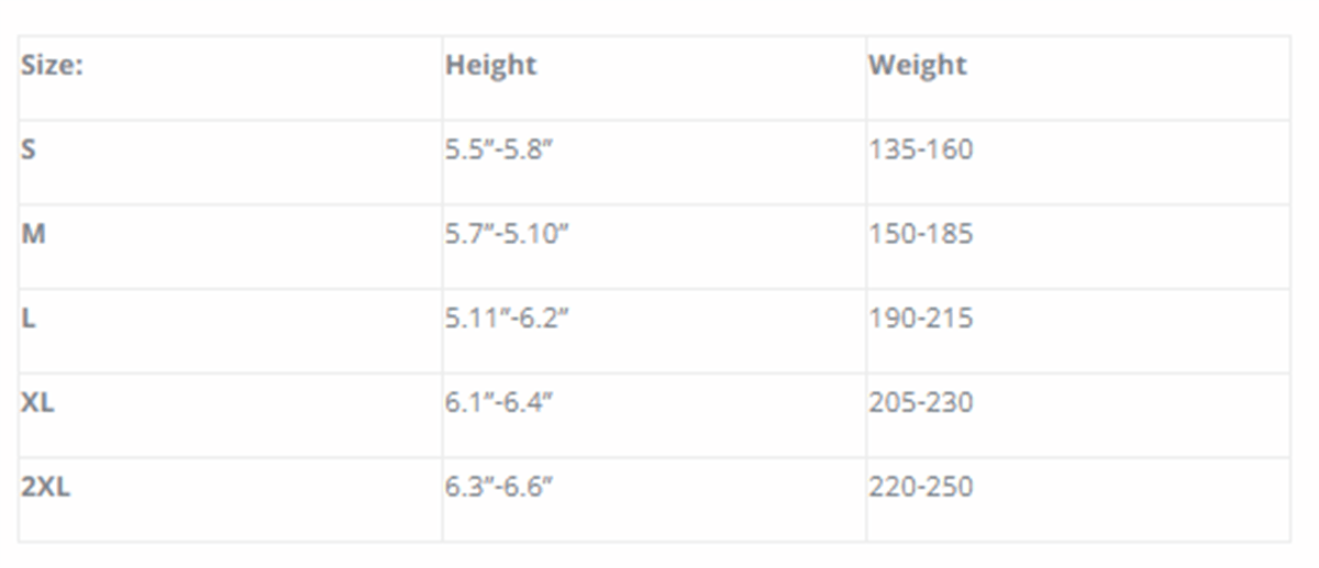 Size Chart for 600 Polar-T Undergarment