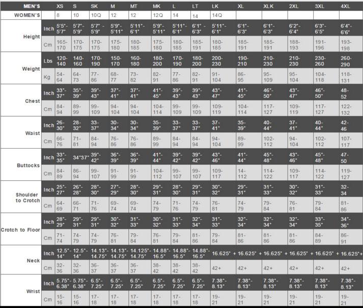Female Size Chart for Open Box  Enviro Hybrid Black - MD King Modified -