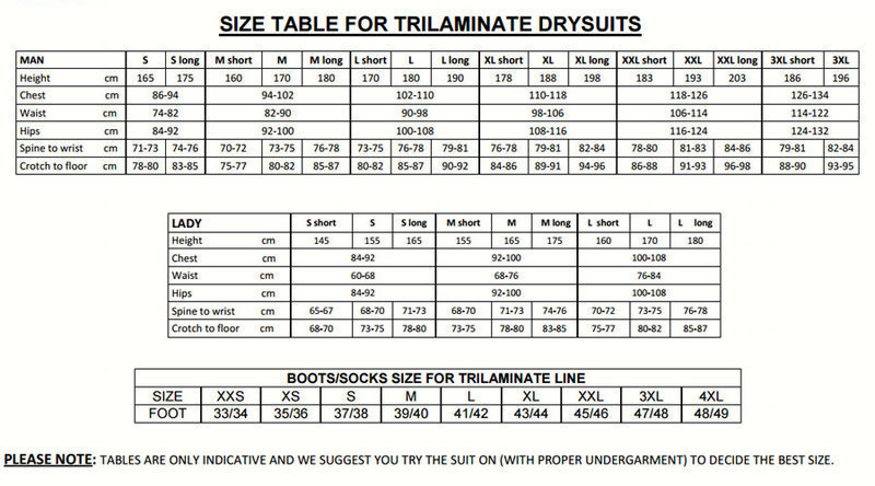 Female Size Chart for Trilaminate RS450k Drysuit -