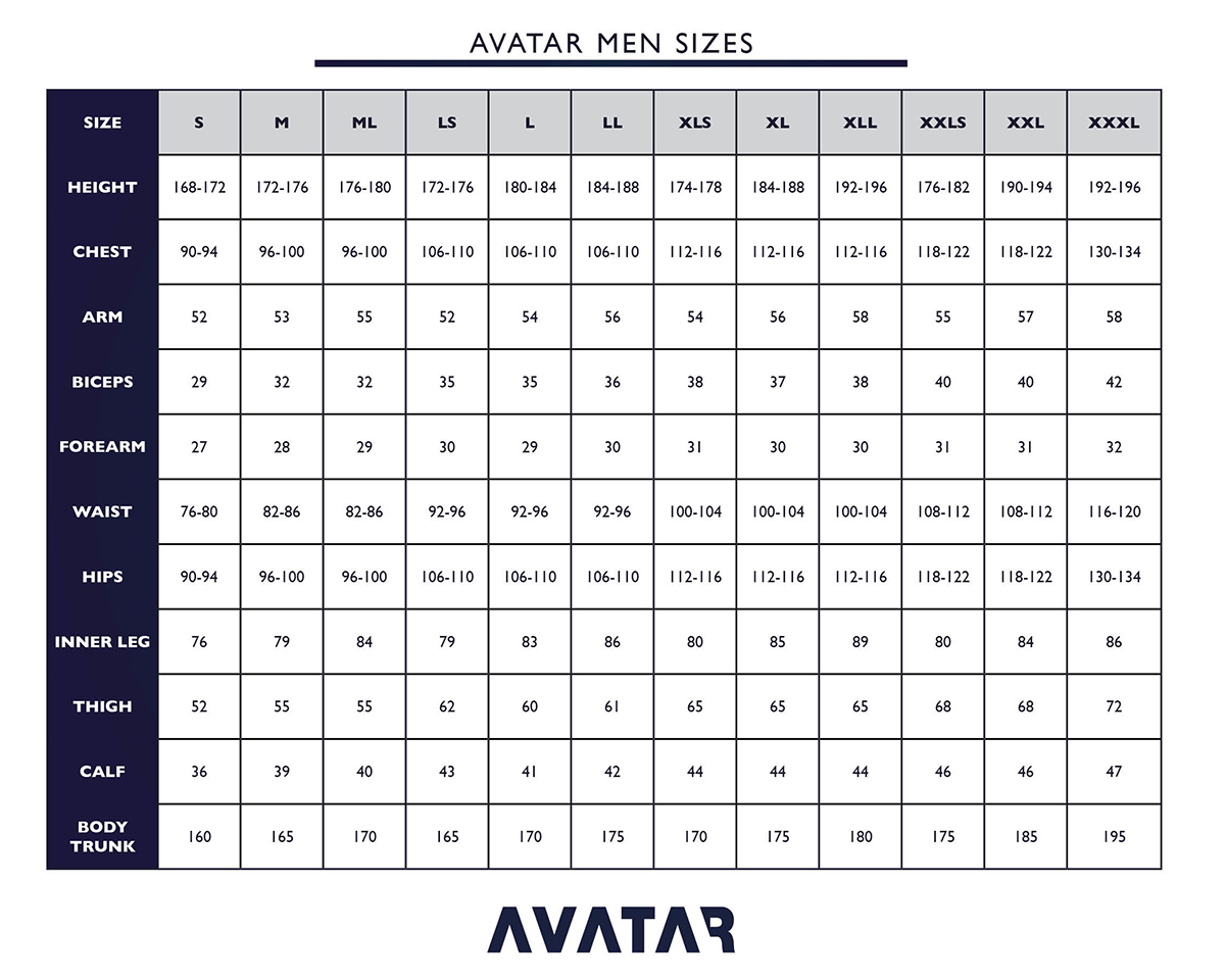 Click to view - Male Size Chart for Avatar 101 Breathable Drysuit