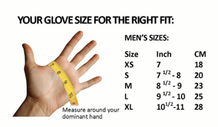 Female Size Chart for Drygloves with Seal -