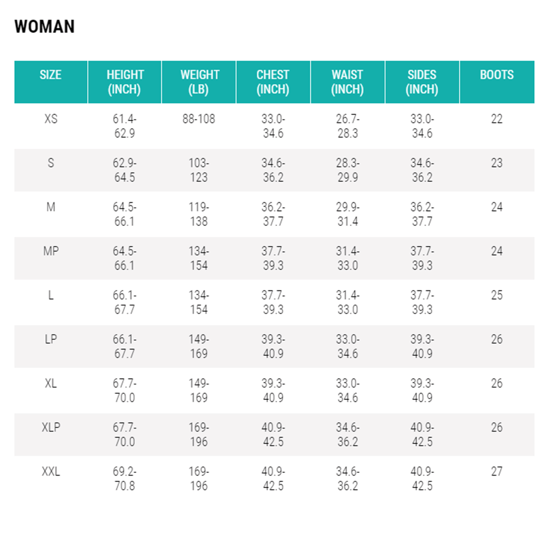 Female Size Chart for Warmdry Drysuit