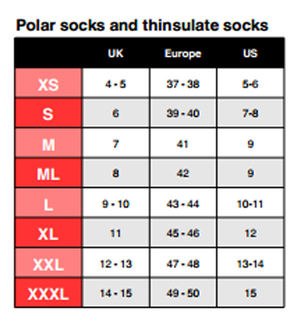 Female Size Chart for Primaloft® Comfort Socks -