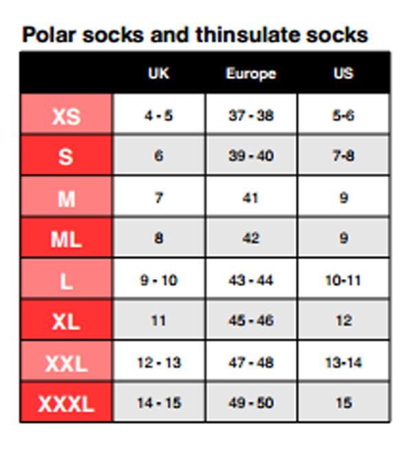 Size Chart for Primaloft® Comfort Socks