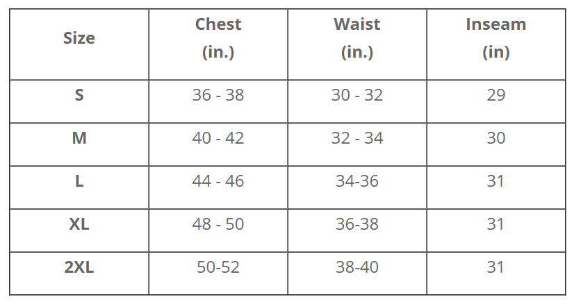 Female Size Chart for Rapid Rescue Extreme™+ Surface Dry Suit  -