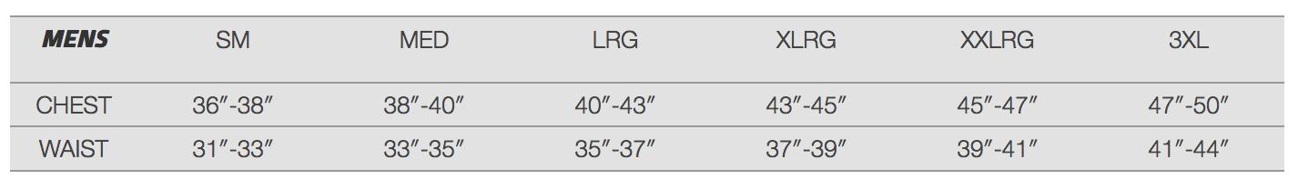 Female Size Chart for Open Box Stormr Jacket -XL -