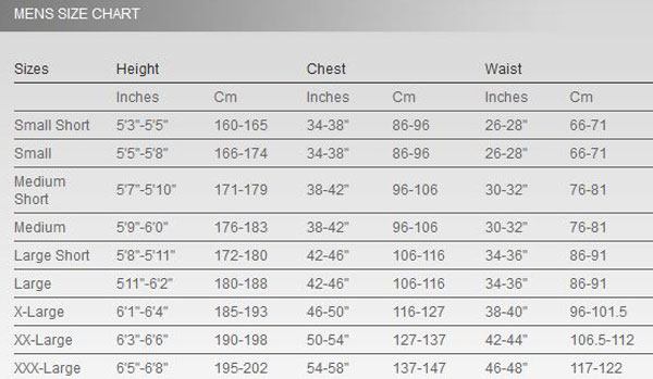 Click to view - Male Size Chart for Thermocline Long Sleeve Top - Front Zip