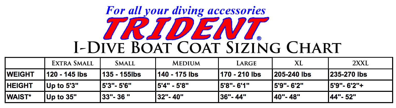 Female Size Chart for I-Dive Boat Coat -