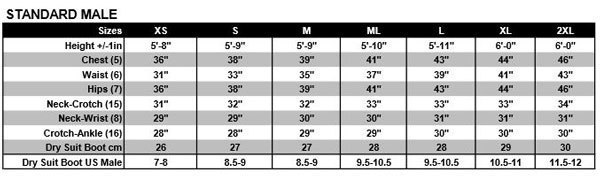 Female Size Chart for SD Combat Semi Dry Wetsuit -