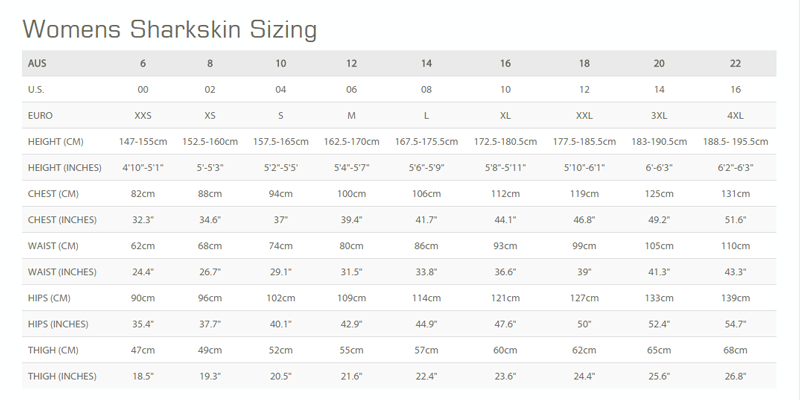 Female Size Chart for OPEN BOX Ladie's Chillproof Long Pants -