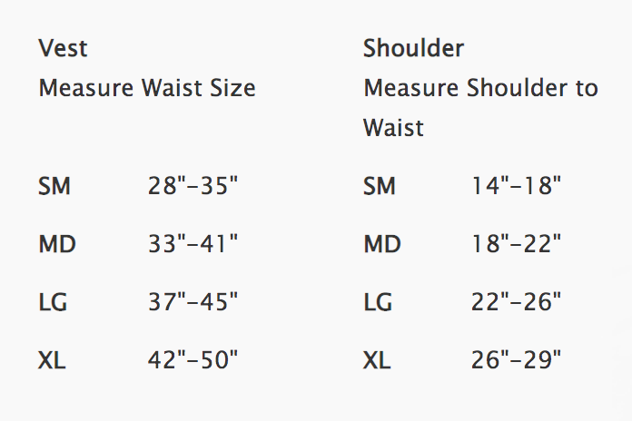 Female Size Chart for Bravo BCD -